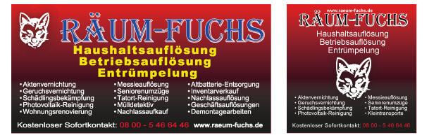 Groß-Banner auf PVC in 1×2 Meter und 1×1 Meter für den Räum-Fuchs