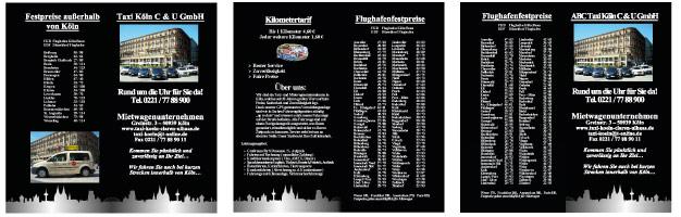 Druckvorstufe Flyer für ein Taxiunternehmen in Köln