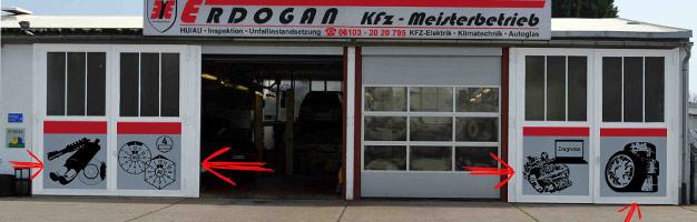 Garagenwerbung (Großaufkleber) KFZ Erdugan Egelsbach