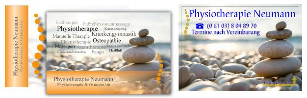 Schild und Visitenkarten für Physiotherapie Neumann