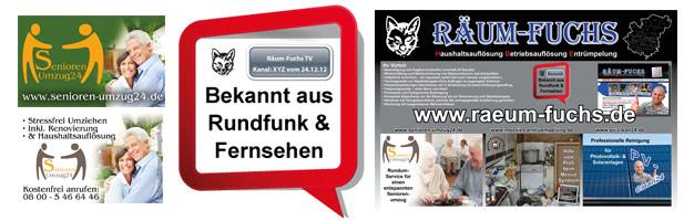 Diverse Schilder für ein Umzugsunternehmen / Entrümpelungsunternehmen (Räum Fuchs)