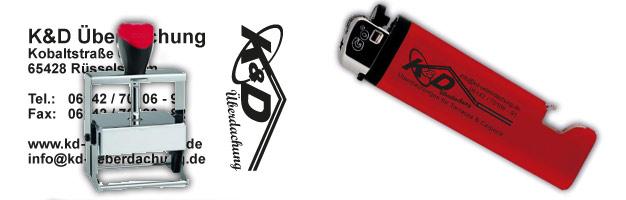 Stempel und Feuerzeug mit Werbeschriftzug