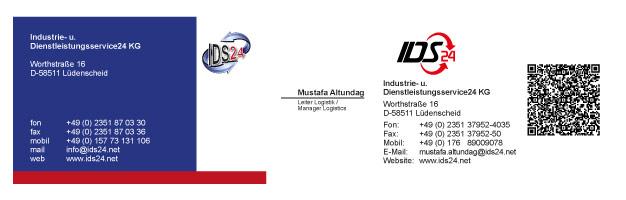 Visitenkarten mit QR-Code für IDS24
