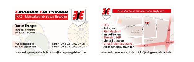 Visitenkarten für KFZ Erdogan in Egelsbach