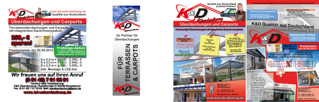 Zeitungsanzeige, Fahne und Flyer für K&D Überdachung